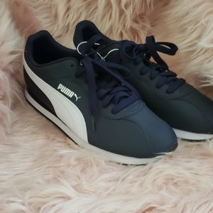 Mens navy and white puma sneakers